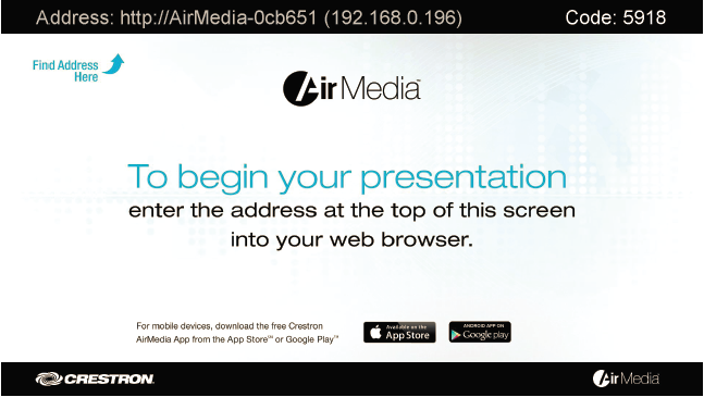 Air Media Welcome Screen